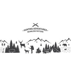 set hunting adventures seamless pattern vector image