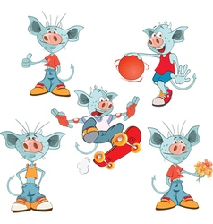 Set of Cartoon Cute Devil vector