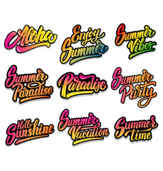 set of summer lettering phrases aloha paradise vector image