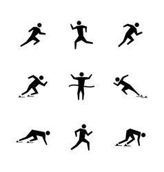 set stick figures of runners vector image