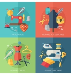 sewing dress accessories hand made icons vector image
