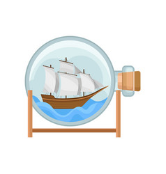 ship and water in round glass bottle with cork vector image