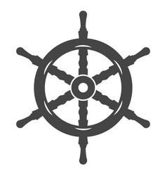 ship wheel black icon nautical and sea equipment vector image
