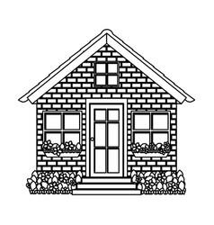 Silhouette comfortable facade house with brick vector