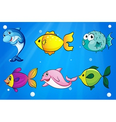 Six different fishes under the sea vector image