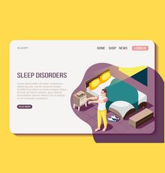 sleep disorder isometric web page vector image