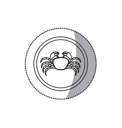 Sticker monochrome line contour with crab in vector