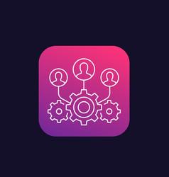 Team interaction linear icon vector