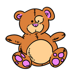 teddy bear hand drawn cartoon vector image
