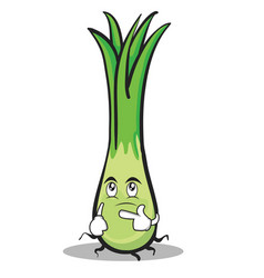 thinking face leek character cartoon vector image
