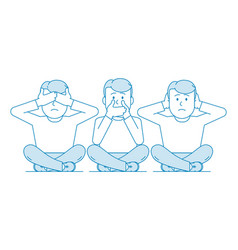 three wise monkeys one man covers his mouth vector image