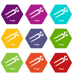Tongs icons set 9 vector
