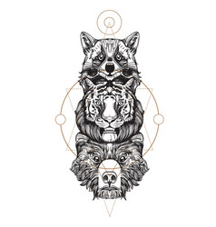 Totem bear tiger and raccoon for creating vector