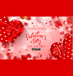 Valentine s day sale background top view on vector