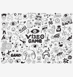 Video games doodle set pencil drawings vector