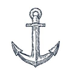 Vintage anchor hand drawn sketch logo design vector