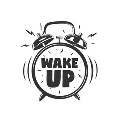 Wake up lettering with clock vector