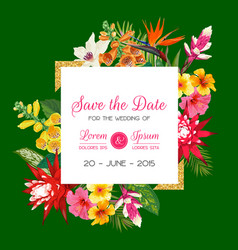 Wedding invitation template with flowers and palm vector