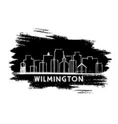 wilmington delaware city skyline silhouette hand vector image