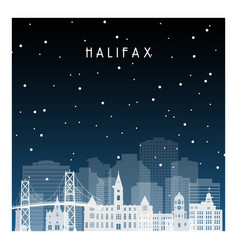 Winter night in halifax night city in flat style vector