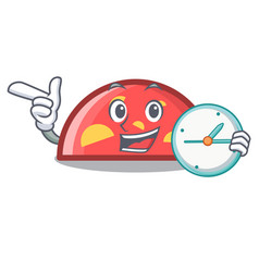 with clock semicircle character cartoon style vector image