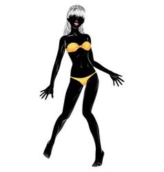 Yellow bikini girl silhouette2 vector