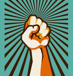 fist retro poster vector image