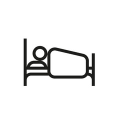 person in bed icon on white background vector image