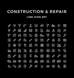 set line icons of construction and repair vector image vector image