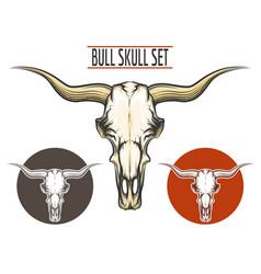 Bull Skull set vector image