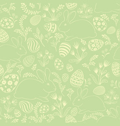 easter egg bunny seamless pattern floral holiday vector image