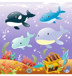 Family animals in the sea vector image vector image