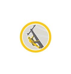 Power Lineman Repairman Climbing Pole Circle vector image