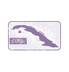 stamp with contour of map of cuba vector image