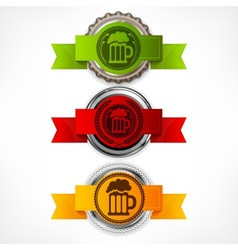 Bottle caps with beer mug vector image vector image