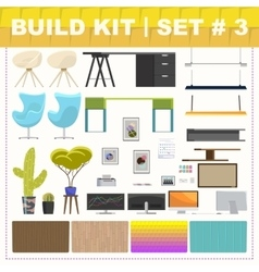 Build kit 3 office furniture vector image