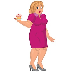 Cartoon young fat woman in pink dress holding vector image