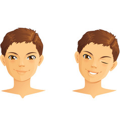 Cute boy winking and smiling vector image