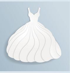 elegant paper silhouette of white wedding dress vector image