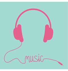 Pink headphones with cord in shape of word Music vector image vector image