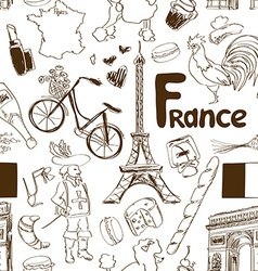 Sketch France seamless pattern vector image vector image