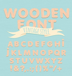 Vintage wooden alphabet Flat style vector image