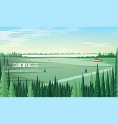 gorgeous rural landscape with green coniferous vector image vector image