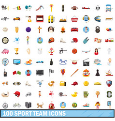 100 sport team icons set cartoon style vector