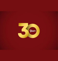 30 years anniversary celebration gold template vector