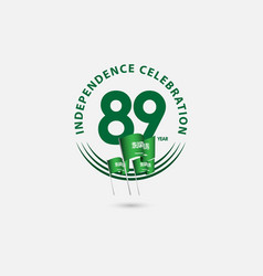 89 year saudi arabia independence celebration vector