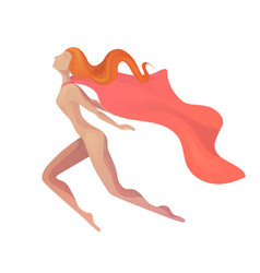 A flying super woman in modern vector