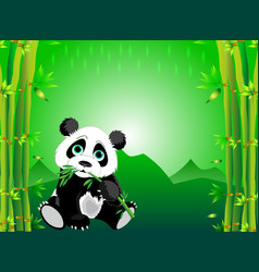 A panda playing in middle bamboo forest vector