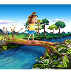 A small girl crossing the river vector