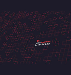 abstract red square technology design on dark vector image